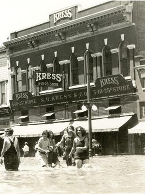 The Kress store on Main Street shown during the 1929 flood.