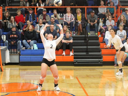 Water Valley High School's Shelby Kolls (2) sets the