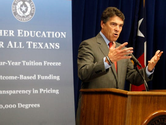 Patrick Dove/Standard-TimesTexas Gov. Rick Perry speaks