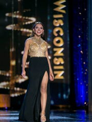 Miss Wisconsin 2016 participates in the Miss America evening gown competition.