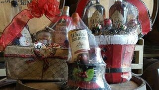 Custom-designed gift baskets are available from Wicked Dolphin.