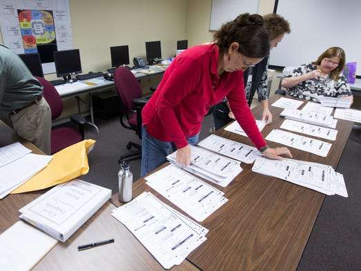 Workers sort absentee ballots as part of a Wisconsin