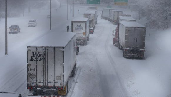 Tractor-trailers were at a standstill on Interstate