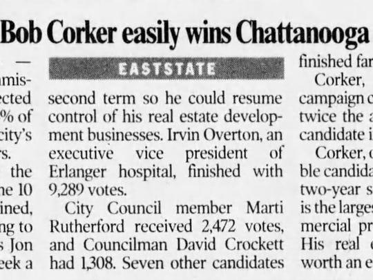Bob Corker wins the Chattanooga mayor's race