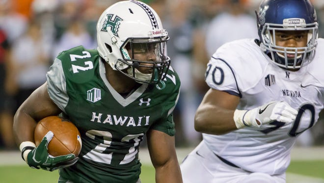 Hawaii running back Diocemy Saint Juste became just the 10th Warriors' running back to rush for 200-plus yards in a game.