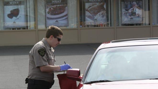 Marion County cadets work a drug take-back event.