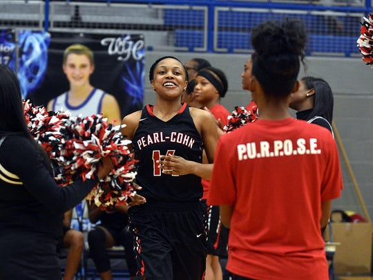 Pearl-Cohn's Janiah Sandifer is introduced prior to Wednesday's Region 5-AA Tournament girls' championship game against East Nashville.