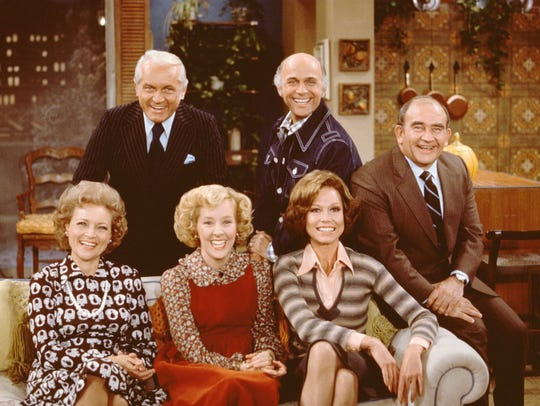 The 'Mary Tyler Moore'  cast, seen together in a 1975