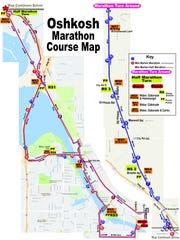 A map of the course for the 2017 Oshkosh Marathon, set to start Sunday.