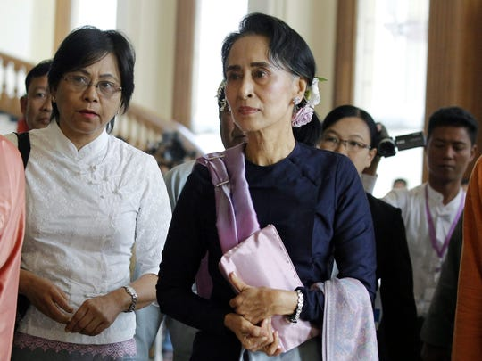 This photo from Feb. 3, 2016, shows Myanmar democracy