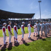 Rice and CVU players shake hands at the end of last year's Division I state high school baseball championship at Centennial Field in Burlington.