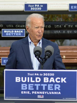 Democratic presidential nominee Joe Biden speaks Oct. 10, 2020, at the Erie Technology Center Plumbers & Steam Fitters in Summit Township.