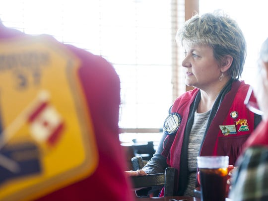 Ronda Wiggers, Vice President of Great Falls Lions Club, attends a meeting at Golden Corral Tuesday, Feb. 28.