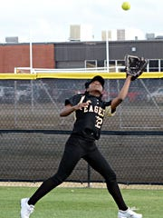 Abilene High right fielder Trakenya Roberson catches