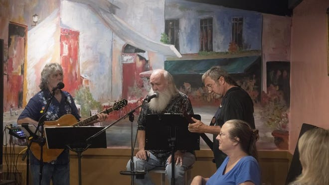 Mark Miale, from left, Jerry Benefield and Ray Carson are shown in 2018. Miale will perform at Crafty Bastards Restaurant and Pub on Saturday.