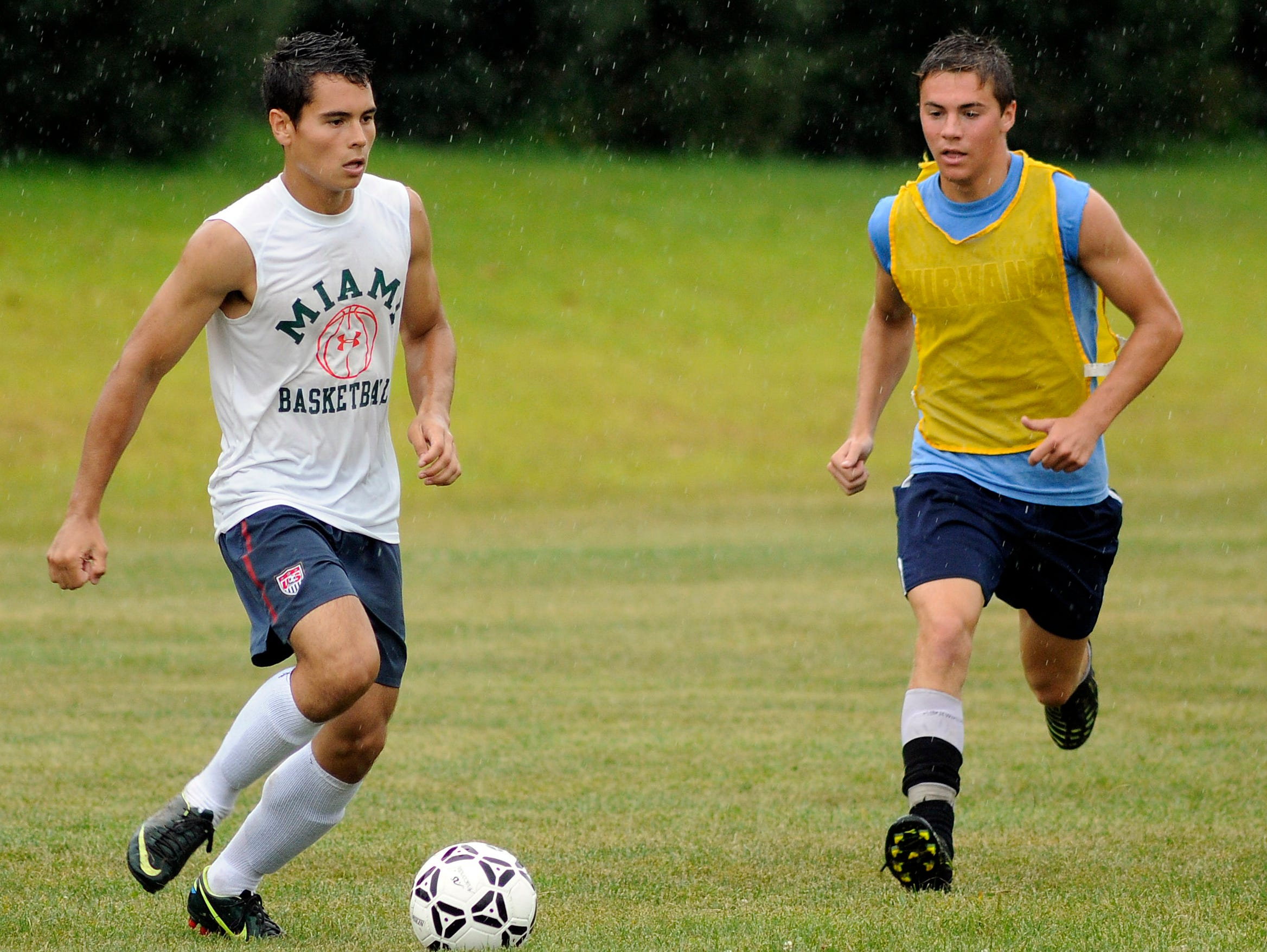 Rhinebeck High School varsity boys soccer players Eric Rodriguez, left, and Renny Graziano practice on Thursday in Rhinebeck.