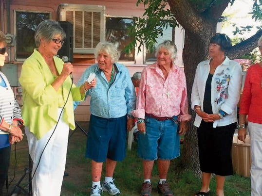 Members of the Border Ladies' Golf Association are, from left, Beverly Reed Kostelnik, Jane Spruiell, Gertrude and Geraldine Kretek,Lynn Manning, president of the Rio Mimbres Ladies' Golf Association; and Mary Salopek, daughter of charter member Winnie Ikard of the Anthony Country Club.