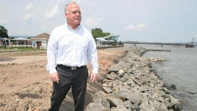 Howard Phillips, Supervisor for the Town of Haverstraw, talks about the shoreline restoration work at Bowline Point Park in Haverstraw, June 17, 2014.  The park was severely affected after Superstorm Sandy.