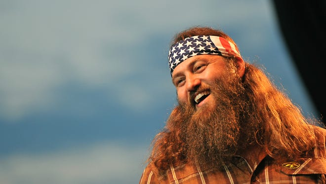 "Willie Robertson, star""Duck Dynasty,"" on stage at the Iowa State Fair Grandstand, Sunday August 10, 2014 in Des Moines, Iowa."