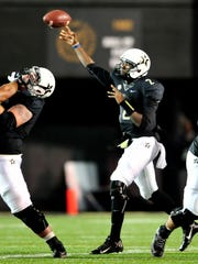 Vanderbilt quarterback Johnny McCrary (2) throws a pass against Old Dominion during the first quarter Saturday.