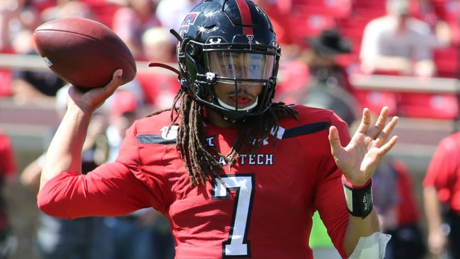 Oct 5, 2019; Lubbock, TX; Texas Tech Red Raiders quarterback Jett Duffey. Photo Credit: Michael C. Johnson - USA TODAY Sports