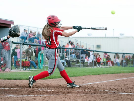 Oak Harbor's Dani Epling hits a double during the Rockets'