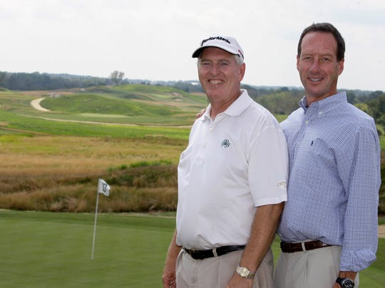 "Erin Hills owner Andy Ziegler (right) poses with Rich Tock in 2010. One of Ziegler's first moves when he bought Erin Hills was to hire Tock, the longtime pro at Ozaukee Country Club and an old friend, to be the course's ""professional ambassador."""