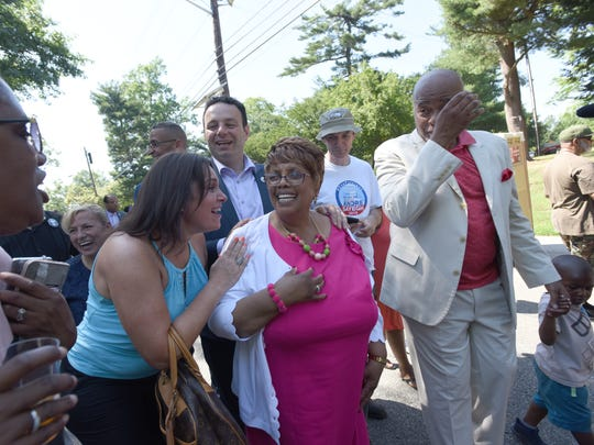 Jane Williams-Warren enjoying the surprise party in her honor on her final day as Paterson's mayor, Saturday, June 30, 2018.