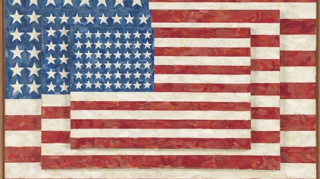 """Jasper Johns' 1958 """"Three Flags"""" is in the Whitney Museum, one of five museums organizing the largest outdoor art show to showcase American art."""