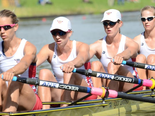 Olivia Coffey, second from left, helped the United States claim a bronze medal in women's quadruple sculls at the 2014 World Rowing Championships in Amsterdam, Netherlands.