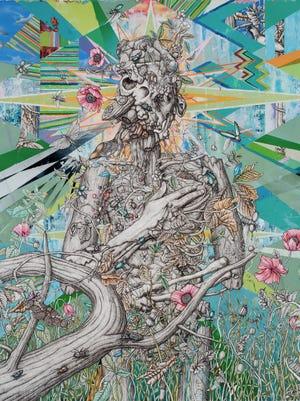 "A work by Jon Rappleye, part of ""A Dark Wood"" at the Noyes Arts Garage."