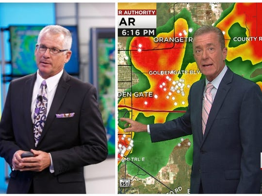 Robert Van Winkle, left, and Jim Farrell, right, lead meteorological teams at NBC2 and WINK, respectively.