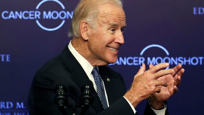 "Vice President Joe Biden speaks at the Edward M. Kennedy Institute for the United States Senate, Wednesday, Oct. 19, 2016 in Boston, about the White House's cancer ""moonshot"" initiative — a push to throw everything at finding a cure within five years."