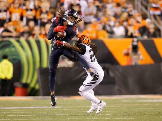 Cincinnati Bengals cornerback Adam Jones (24) breaks