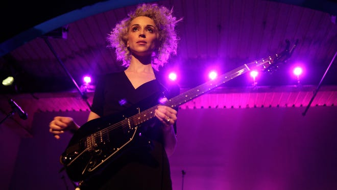 Singer/musician St. Vincent performs at the American Express UNSTAGED Fashion with DVF at Spring Studios on Feb. 9, 2014, in New York City.
