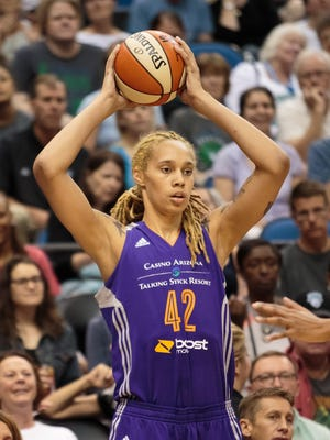 Phoenix Mercury center Brittney Griner (42) inbounds the ball in the first quarter against the Minnesota Lynx at Target Center.