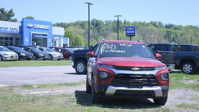 A look at inventory in the lot at Steet Ponte Chevrolet heading into Memorial Day weekend in Herkimer. Dealerships have limited onsite staffing, and many currently require potential buyers to set appointments by phone or over the internet.
