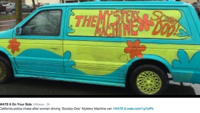 """California police are searching for a woman who led officers on a chase while driving a minivan painted to look like the """"Mystery Machine"""" from the cartoon Scooby Doo."""