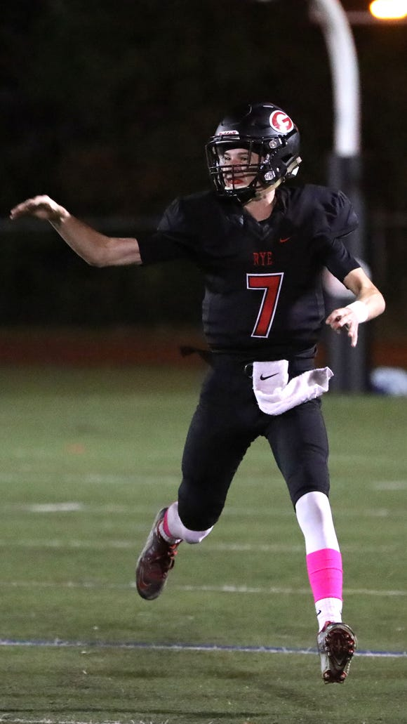Rye quarterback Declan Lavelle fires off a pass during