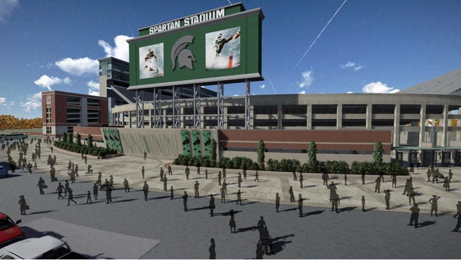 A rendering of what the southern portion of Spartan Stadium will look like once a new one-story building is added. The project is expected to be completed by fall 2017.