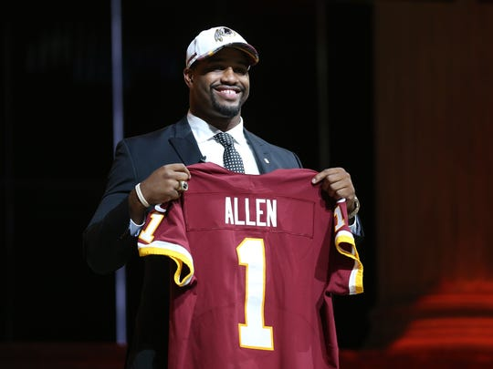 Jonathan Allen (Alabama) is selected as the number 17 overall pick by the Washington Redskins in the first round the 2017 NFL Draft at the Philadelphia Museum of Art.