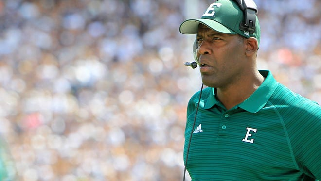 Sep 7, 2013; University Park, PA, USA; Eastern Michigan Eagles head coach Ron English looks on during the first quarter against the Penn State Nittany Lions at Beaver Stadium. Mandatory Credit: Matthew O'Haren-USA TODAY Sports