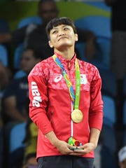 Kaori Icho is shown with her 2018 Rio Olympics wrestling