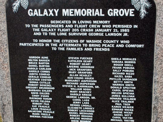 A plaque set in stone at Rancho San Rafael Regional Park pays tribute to the victims of Galaxy Airlines Flight 203, which crashed in South Reno on Jan. 21, 1985. Guy Clifton/RGJ