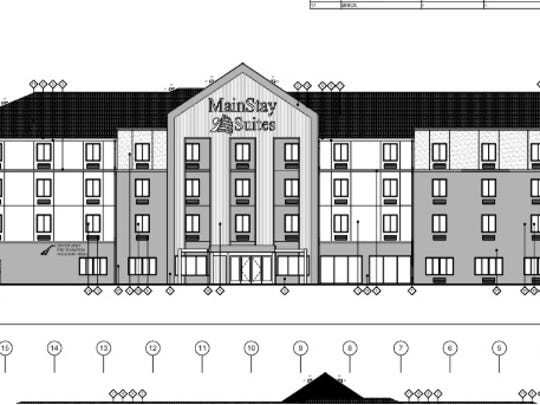 A 106 room, four-story hotel building and a future