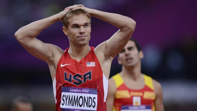 Aug 7, 2012; London, United Kingdom; Nick Symmonds (USA) reacts after competing in the men's 800m semifinals during the 2012 London Olympic Games at Olympic Stadium.