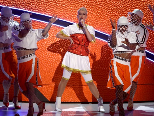 Katy Perry performs a medley at the MTV Video Music