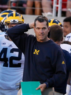Michigan head coach Jim Harbaugh after another  offensive drive stalled against Utah at Rice-Eccles Stadium on September 3, 2015, in Salt Lake City, Utah.