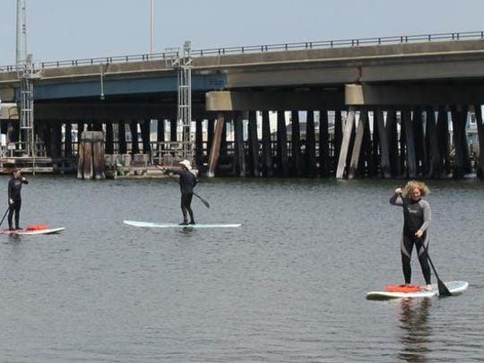 Surf Unlimited taught paddle boarding Saturday at the Splash into Summer Expo in Ship Bottom.