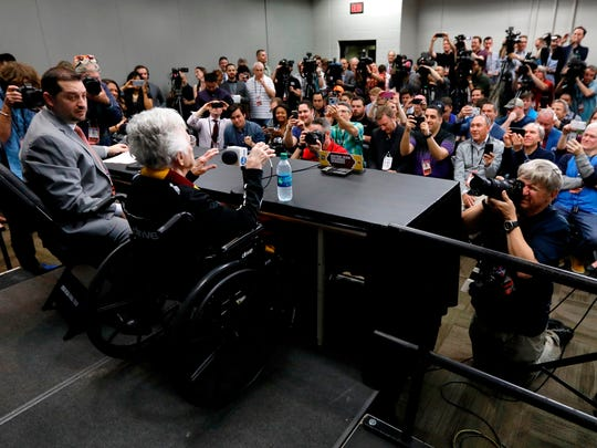 Loyola's Sister Jean Dolores Schmidt answers questions during a news conference for the Final Four NCAA college basketball tournament, Friday, March 30, 2018, in San Antonio. (AP Photo/Charlie Neibergall)